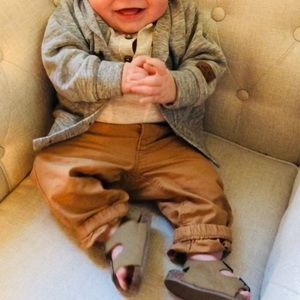 Cardigan and Khakis with Aztec print onsie